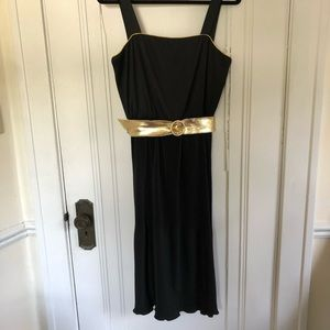 Vintage Black Plisse Midi Dress w/ gold lamé belt